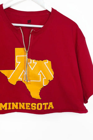 Minnesota Zip Up Crop Top