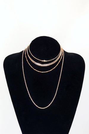 Four Layer Gold Choker Necklace