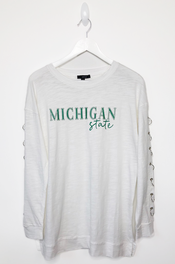 Custom College Long Sleeve White Top