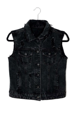 Distressed Black Denim Vest