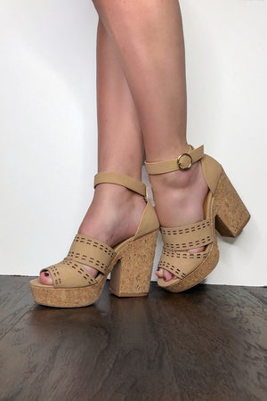 Cork Stopper Wedge Heels