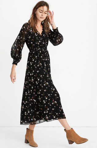 Madewell Georgette Smocked Midi Dress