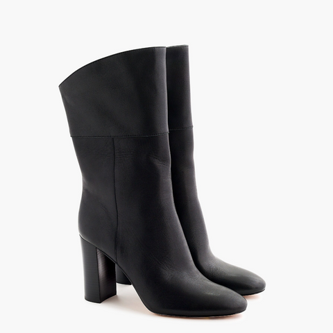 J.Crew Leather Midcalf High-Heel Boots