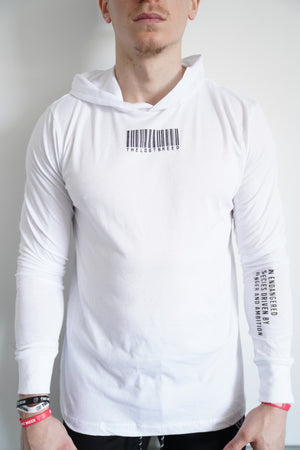 """TLB Barcode"" Lightweight Hoodie (White)"