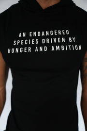 """Endangered Species"" Cutoff Hoodie (Black)"