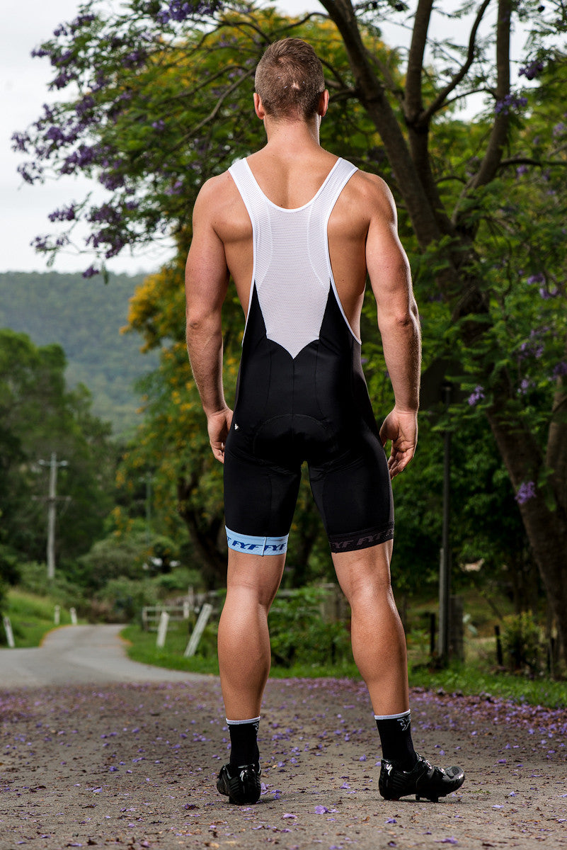 italian made cycling bib shorts rear view including chamois