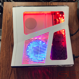 Custom White Xbox 360 Slim RGH2 w/250GB HDD & Cut Out Red & Blue LED's. Ready to Ship! - Sharky's Customs LLC