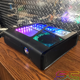 Custom Black Xbox 360 Slim RGH2 5 Window Cut Out with Remote Addressable LED's - Sharky's Customs LLC