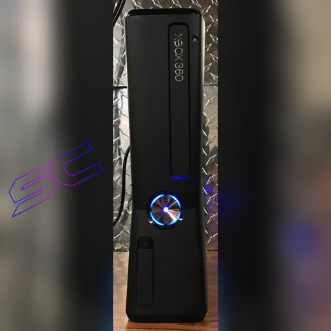 Custom Black Xbox 360 Slim Viper Dual Nand 2 in 1! LED's & Cut Out of your Choice. - Sharky's Customs LLC