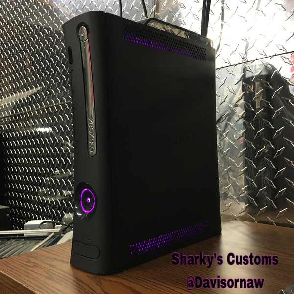 Custom Xbox 360 Black Jasper Elite RGH1.2 w/120GB HDD - LEDs of Your Choice! - Sharky's Customs LLC
