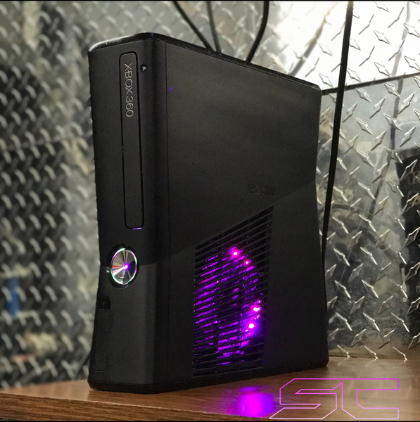 Custom Black Xbox 360 Slim RGH2 w/160GB HDD, Pink/Purple & White LED's - Sharky's Customs LLC