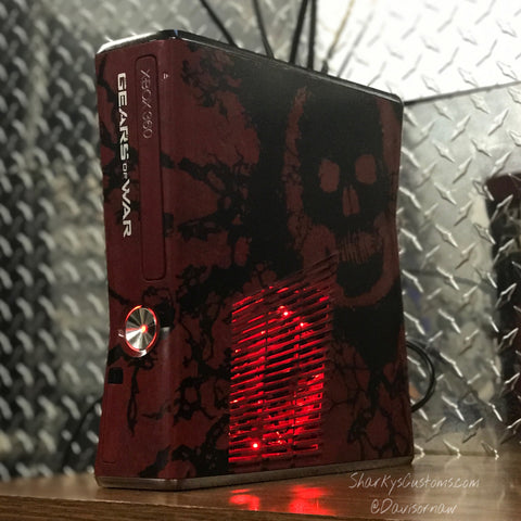 Custom Limited Edition Gears Of War Xbox 360 Slim RGH2 - Sharky's Customs LLC
