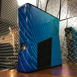 Custom Black Xbox 360 Slim RGH2 w/Blue Swirl Skin (LED's & Cut Out of Your Choice) - Sharky's Customs LLC