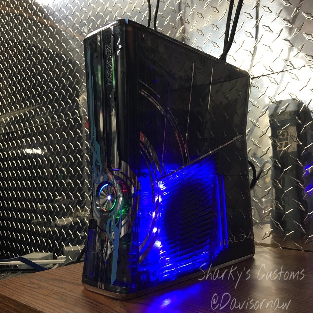 Custom Limited Edition Halo 4 Xbox 360 Slim RGH2  (LED's of Your Choice)