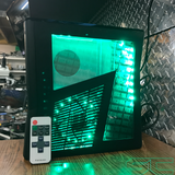 Custom Black Xbox 360 Slim RGH2 F*CK YOU Plexiglass Engraved Cut out with Green LED's - Sharky's Customs LLC