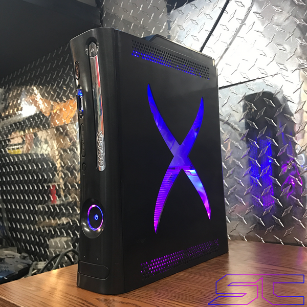 Custom Black XCM Xbox 360 Jasper Dual Nand (DEMON) 2 in 1! Pink/Purple & Blue LED's. 320GB HDD 15 MOD MENUS!! - Sharky's Customs LLC