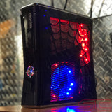 Custom Black Xbox 360 Slim RGH2 w/ Spiderweb Cut Out - Sharky's Customs LLC