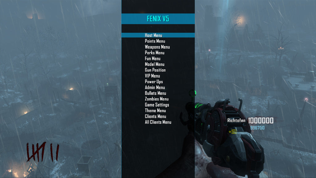 Black Ops 2 Fenix v5 Zombies Mod Menu