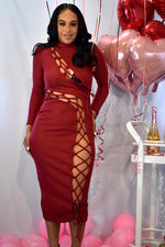 Heart on her sleeve cut out lace up red midi dress