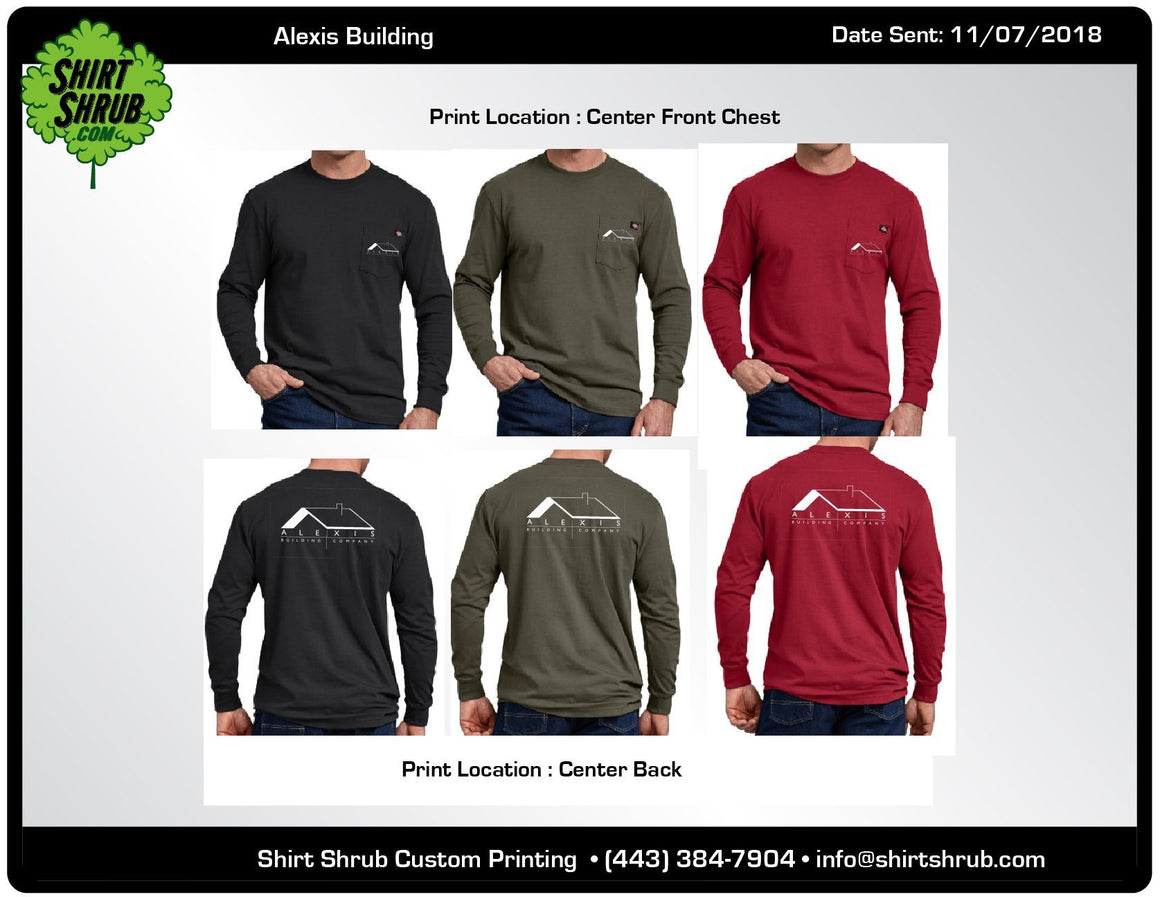 Alexis Building Company Branded Long Sleeve Shirts