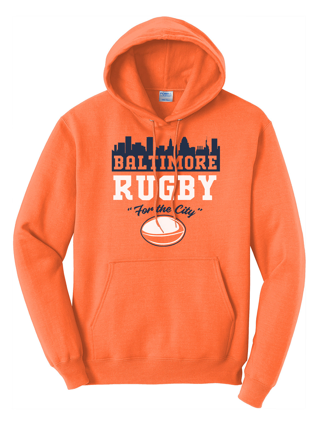 Baltimore Rugby Adult Hoodie - Bright Orange