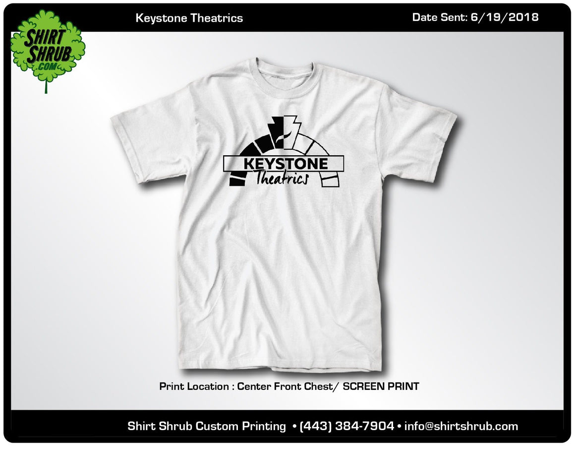Keystone Theatrics White Adult and Youth Logo Shirts