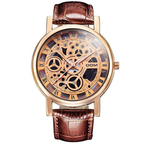 DOM Skeleton Waterproof Leather Belt Men Quartz Watch