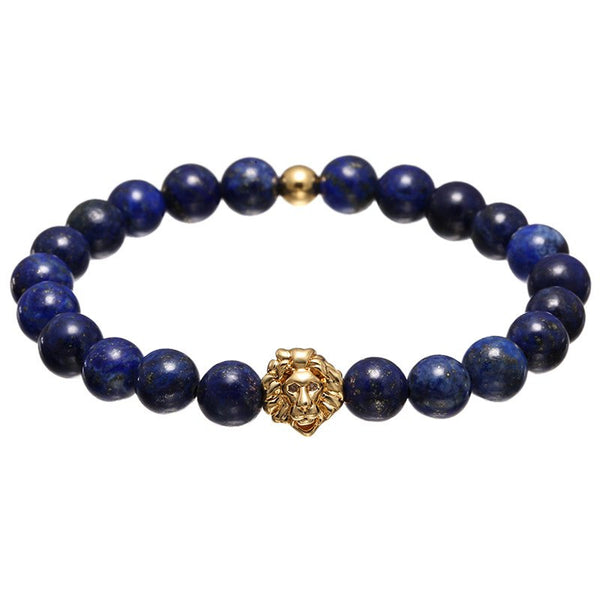 8MM Blue Beads Lion Bracelet, 4 Styles Available - cynthly.com
