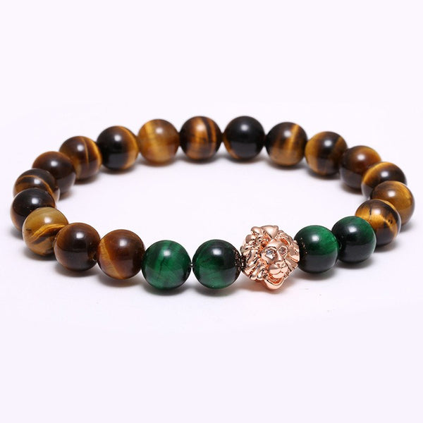 8mm Tiger Eye Beads Lion Bracelets, 4 Styles Available - cynthly.com