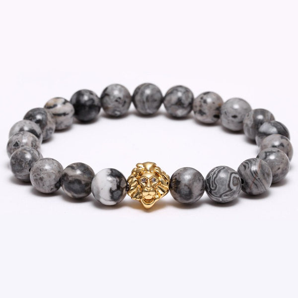 King Lion Natural Stone Lucky Beads Bracelet, Lion Available in 4 Colors