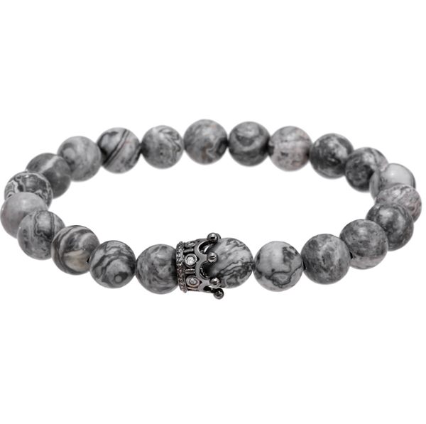 Grey White Stones King Bracelets, 4 Colors Available