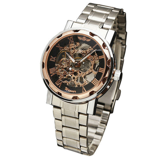 Skeleton Mechanical Watch Stainless Steel Water Resistant Montre Homme