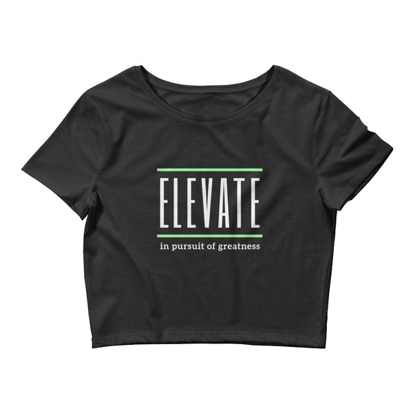 ELEVATE Women's Crop Tee (white logo)