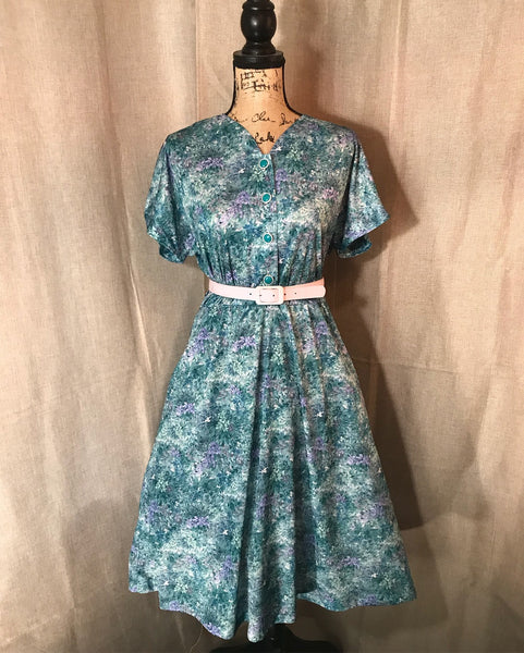 I'M QUITE FAUNA YOU// Womens Vintage Blue Dress Floral Retro Pinup Rockabilly Dapper Midi