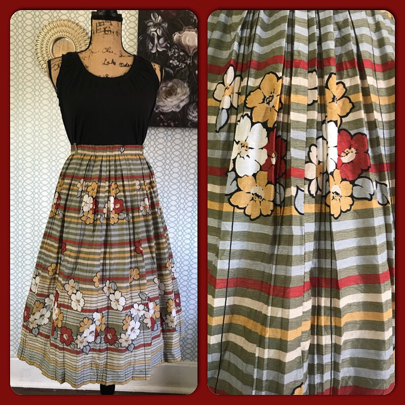 JAPANESE GARDEN// Womens Vintage Skirt Midi Floral Knee Length Grey Pinup Rockabilly