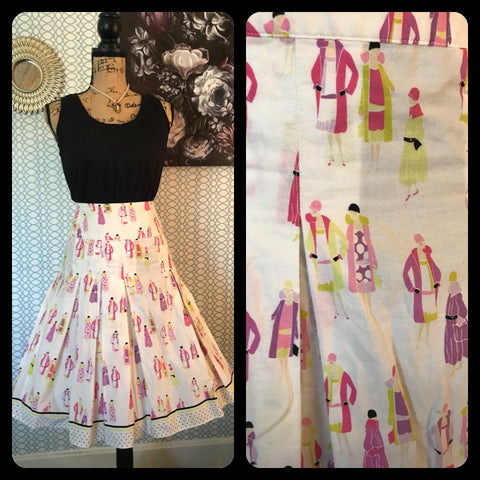 DAPPER DAMES// Womens LIZ CLAIBORNE A Line Skirt White Pink Purple Midi Knee Length Vintage Pinup Style