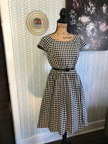 CHECK ON ME// Elle Black Gingham Dress Size XL Retro Pinup Rockabilly Midi