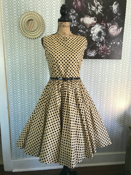 ON THE DOTTED LINE// Womens LINDY BOP Vintage Repro Polka Dot Dress Full Circle Skirt Cupcake Pinup Rockabilly Dapper