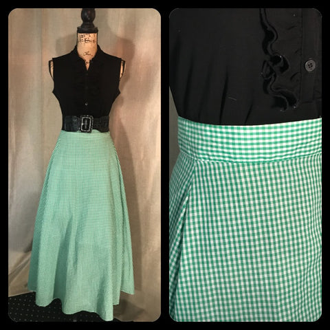GINGHAM STYLE Womens Vintage Maxi Skirt Green Plaid Handmade Vintage