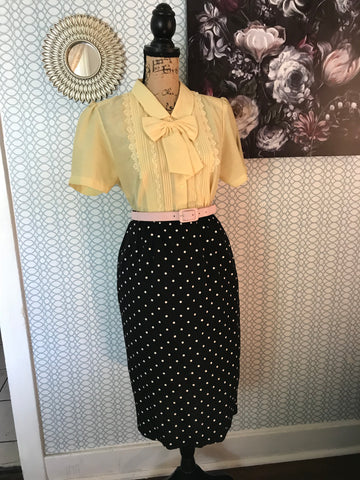 BEE YOU// Black Polka Dot Pencil Pencil Midi Retro Pinup Rockabilly Size S M