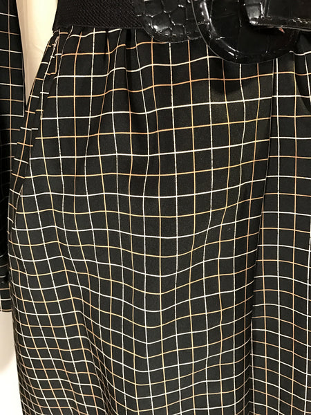 Checks Marks the Spot - womens vintage 60s dress// plaid// classy// black and gold// size M/L