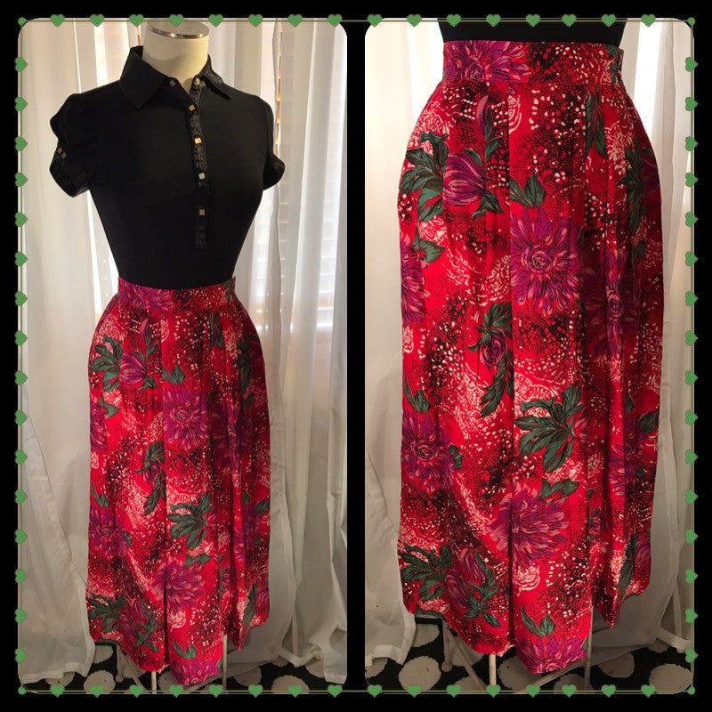 Skirting the Issue - vibrant print// women's vintage skirt// red// SLAY// size S