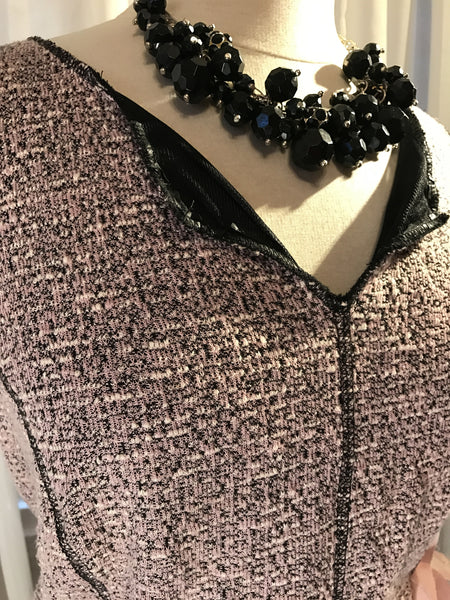 This Ruby Rox - RUBY ROX// Chanel style// pink tweed dress// florette// lace ribbon// size L/XL