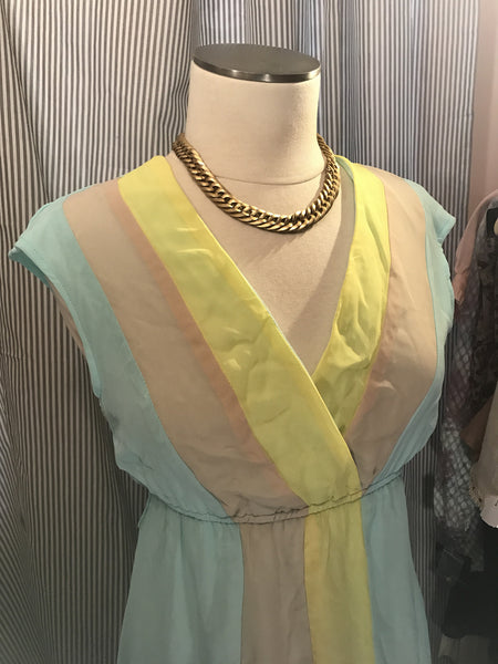 SUNSET BOULEVARD// Womens Vintage Maxi Dress Aqua Yellow Size XS S