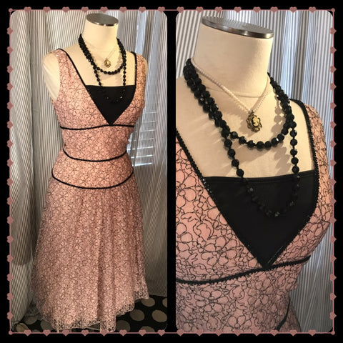 An Evening in Paris// Womens Blush Pink and Black Lace Dress// STUNNING// Midi// Handmade// Vintage// size XS