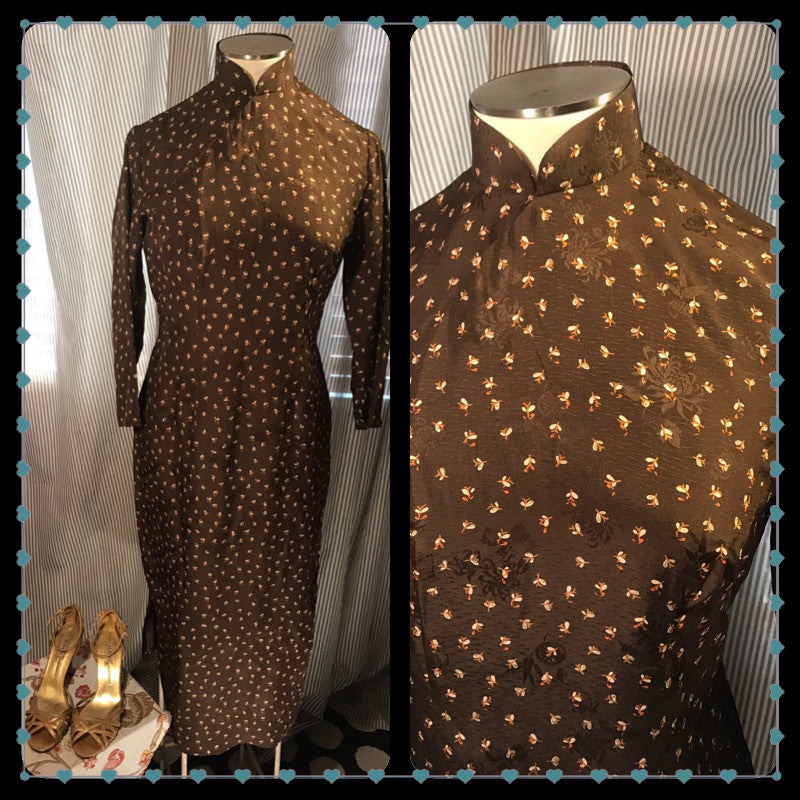 POLYNESIAN PRINCESS// Womens Vintage Qi Pao Dress// Asian// Chocolate Brown// Floral