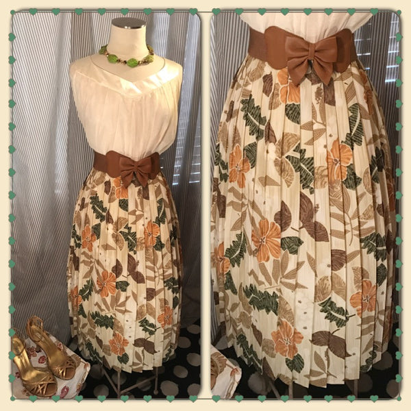 ISLAND BREEZE// Womens ALFRED DUNNER Skirt// Vintage// Hawaiian Floral// Pleated// Size 2X