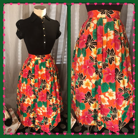 HIBISCUS HOTTIE// Womens Plus Size Hawaiian Tropical Print Skirt// VIBRANT// Pink// Orange