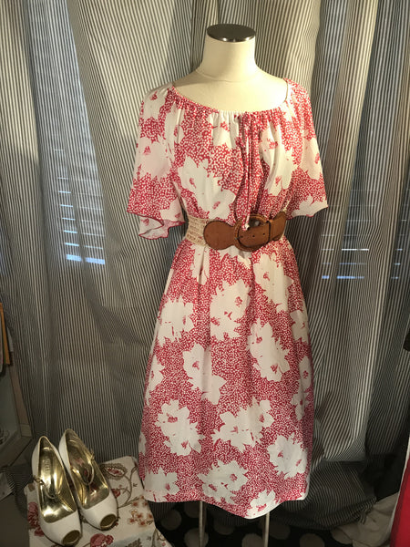 HIBISCUS HONEY// Womens Vintage Hawaiian Floral Dress Pink Tiki Party Luau Plus Size