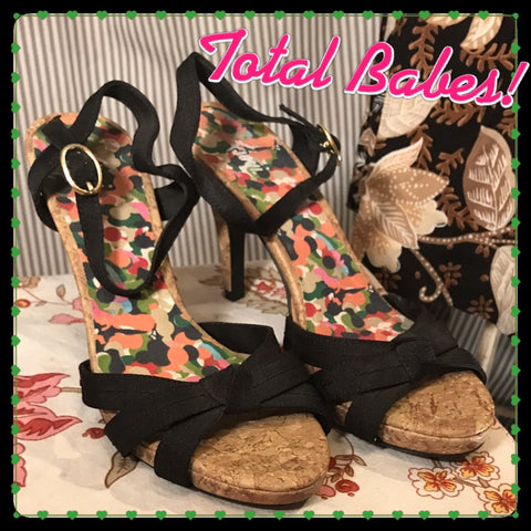 BEACH BABE - womens FIONI Black Strappy Cork Wedges Heels// Size 7